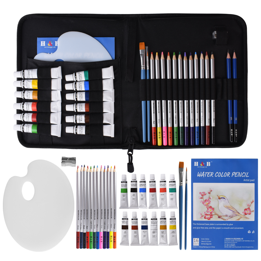31PCS Water Color Kit 12ML Watercolor Paint Pigment Sketch Colored Pencils with A5 Pad Carrying Case Art Supplies for Beginners
