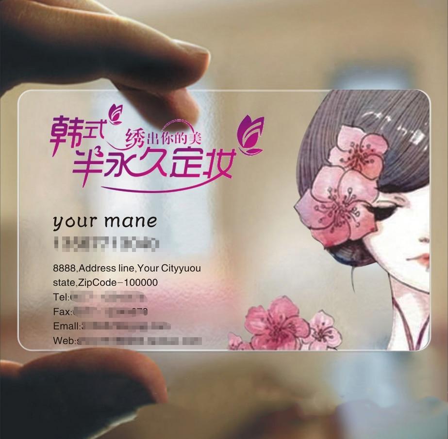 1000pcs/set High-grade Business Card  Customized Transparent PVC Card Business Cards Custom