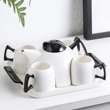 High-grade black glazed ceramic coffee cup set flower teapot household cup set 6 pieces Coffee set
