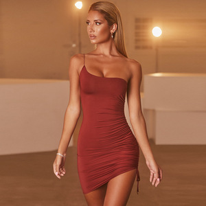 Irregular Strapless Woman Dress Solid One-Shoulder Bodycon Tight Short Skirt Y2k Sexy Black Suspender Dress Fall 2020 Clothing