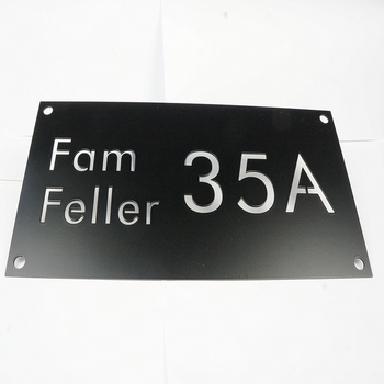 2mm Black House Number Sign Stainless Steel Name Plate 12''*6''