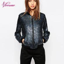 Frauen Pailletten Mantel Bomber Jacke Lange Sleeve Zipper Streetwear Casual Lose Glitter Oberbekleidung 2020 Neue Mode Weibliche Herbst Mantel