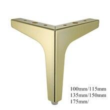 4 szt. Podłogi meble metalowe nogi kwadratowe szafki stół z drewna nogi złoto na sofę stopy stóp łóżko Riser akcesoria meblowe