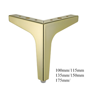 Image 1 - 4pcs Flooring Metal Furniture Legs Square Cabinet Wood Table Legs Gold for Sofa Feet Foot Bed Riser furniture accessories