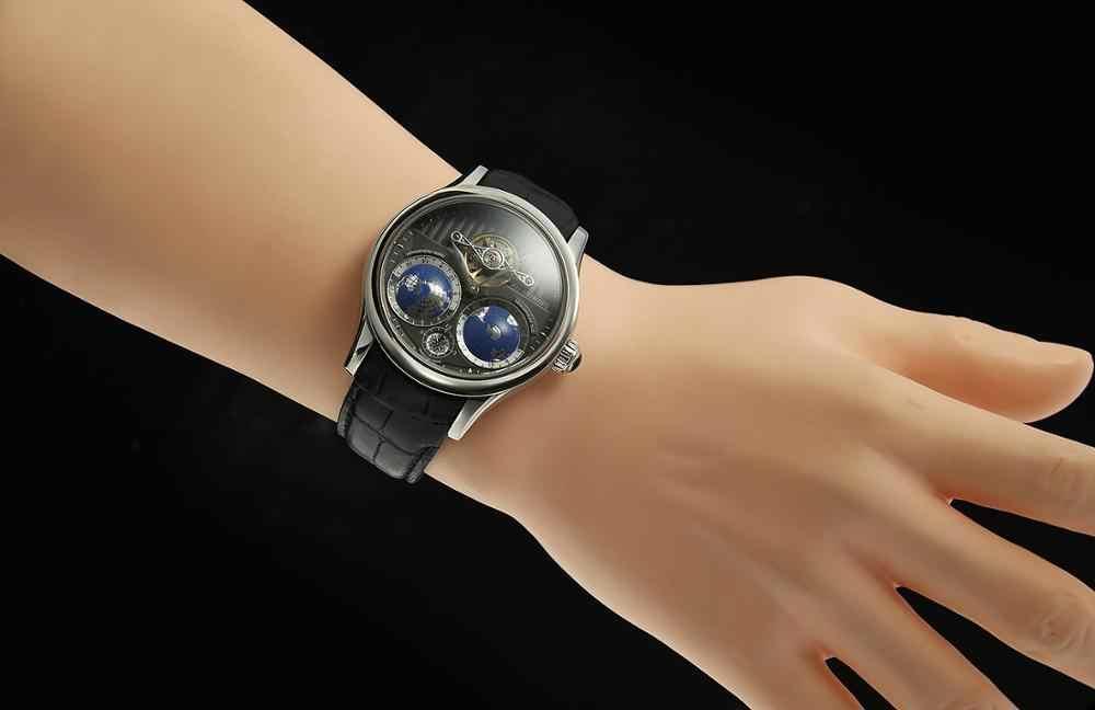 Forsining 2019 terre réel tourmilliard multi-dimensionnel concepteur hommes montres haut de gamme marque de luxe mode décontracté montre automatique