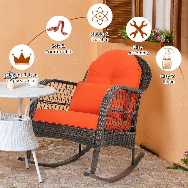 2PCS Outdoor  Wicker Rocking Chair 6