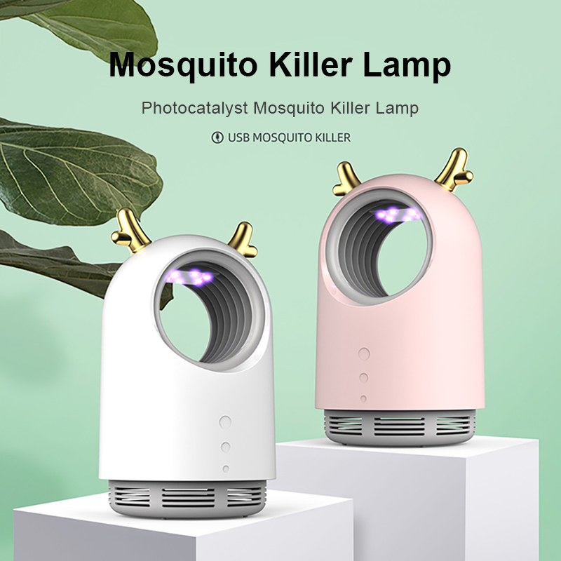 2020 Cute Antlers Mosquito Killer Lamp USB Powered 1m/2m Electric Bug Zapper Anti Mosquito Trap Light For Home Children's Room