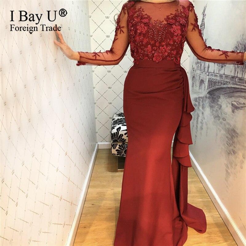 Vin rouge sirène manches longues robes de soirée 2019 perles à la main fleurs robes de bal