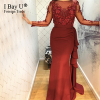 Wine Red Mermaid Long Sleeves Evening Dresses 2019 Beading Handmade Flowers Prom Gowns