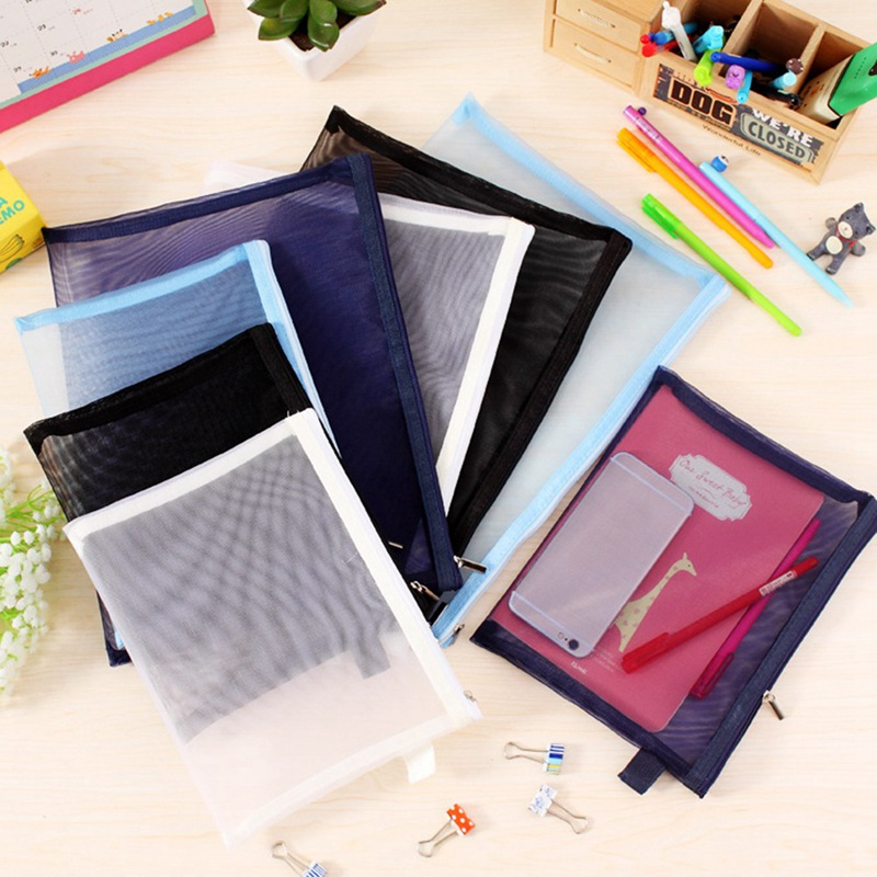 New Practical Transparent Simple Mesh Zipper Stationery File Bag Student Examination Special Pen Bag Stationery Receiving Bag
