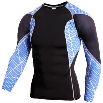 2021 męska koszulka kompresyjna Dry Fit Rashgard Fitness koszulka do biegania z długim rękawem męska koszulka Fitness koszulka piłkarska odzież sportowa tanie i dobre opinie CINESSD CN (pochodzenie) Wiosna summer AUTUMN Winter Stretch Spandex Pasuje prawda na wymiar weź swój normalny rozmiar