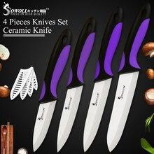 SOWOLL 3 4 5 6 pulgadas cocina útil, para cortar Chef cuchillo de cerámica negro hoja cuchillos de cocina 4-piezas de cinco colores para las opciones
