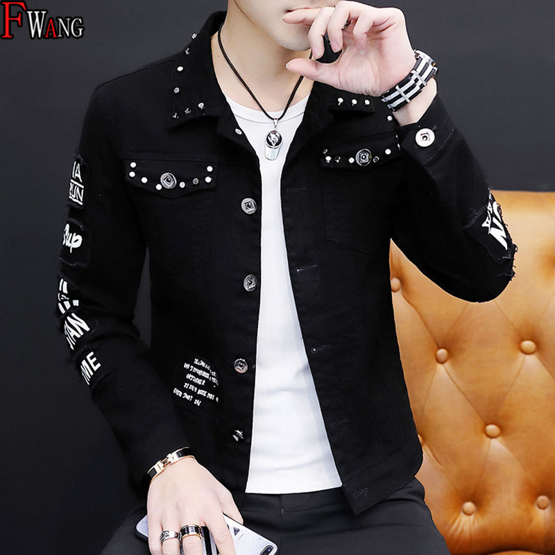 Wholesale 2020 Fashion Casual Denim Spring Men's Korean Hole Spring Clothing Jacket Single-breasted Guy Rivet Washed Casual Coat