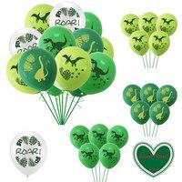 Globo de látex estampado con dinosaurio para niños, 12 Uds., decoración de fiesta de cumpleaños, globos con temática de animales de dibujos animados en el bosque