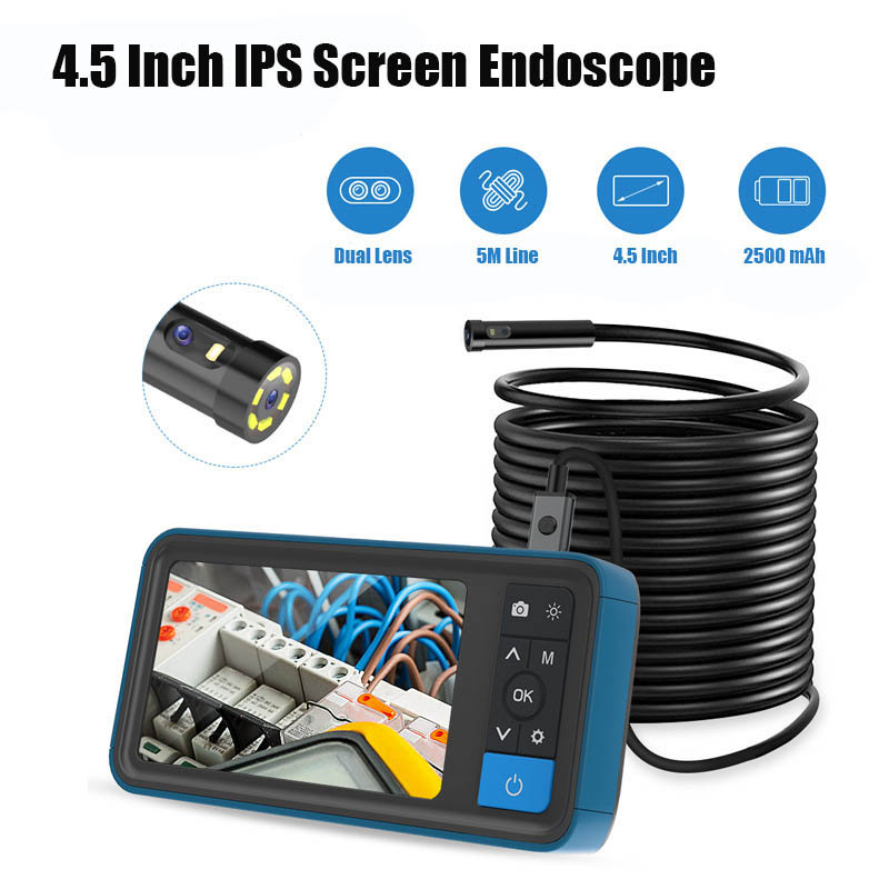 8 Mm Dual Lens Inspection Camera, 4.5 Inch 1080P IPS Screen Endoscope,IP67 Waterproof Tube Industrial Borescope With 5M Line