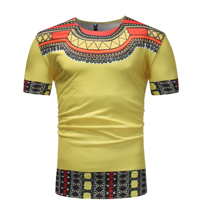 Yellow African Dashiki Print T Shirt Men 2020 Brand Slim Fit Short Sleeve African Clothes Men Streetwear Casual Tee Shirt Homme