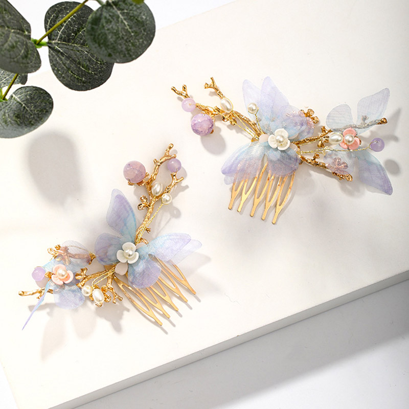 FORSEVEN Women Girls Flower Pearls Long Tassel Headpieces Hairpins Sticks Hair Combs Jewelry Sets Chinese Hair Accessories 4