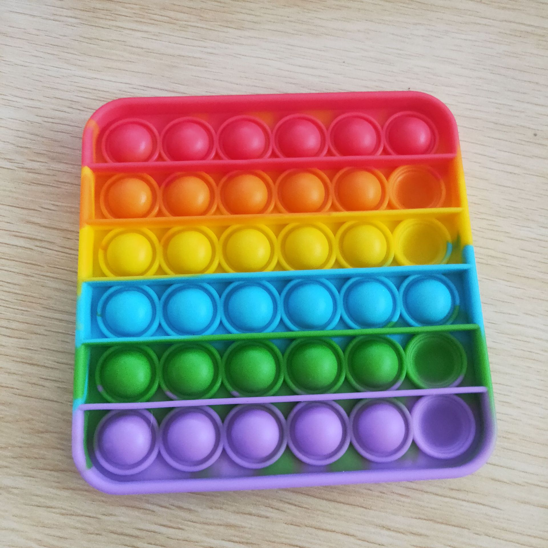 Sensory Toy Playing-Board Bubble Fidget Square Stress-Reliever Rainbow-Color Round Push-Pop img4