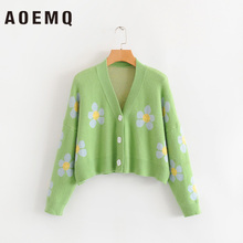 AOEMQ Fashion Winter Sweaters Cute Light Green Symbol Life Spring Sweaters with Flower Print Women Tops Christmas Sweaters цены
