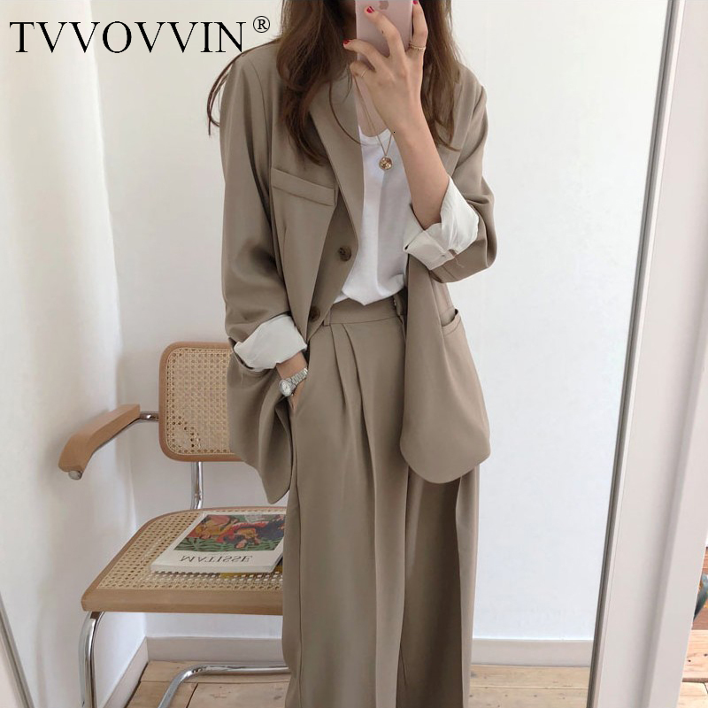 2019 TVVOVVIN Fashion New Korea Vintage Loose Casual Coat Jacket Suit + High Waist Wide Leg Pants Womens Set Clothes TOPS AS902