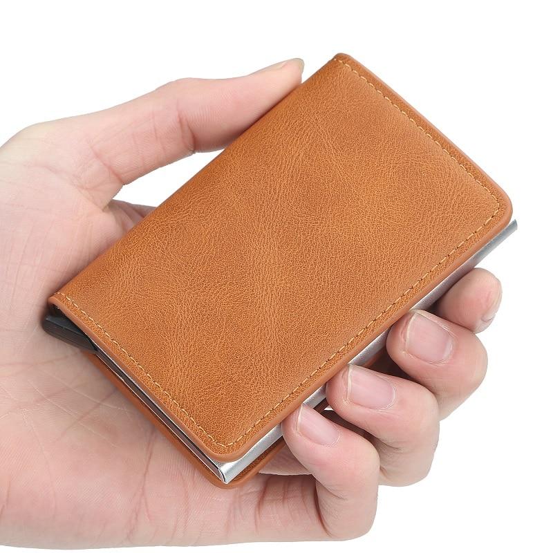 Новый мужской кошелек с блокировкой Rfid из искусственной кожи, винтажный держатель для кредитных карт, унисекс, Противоугонная защита, алюми...