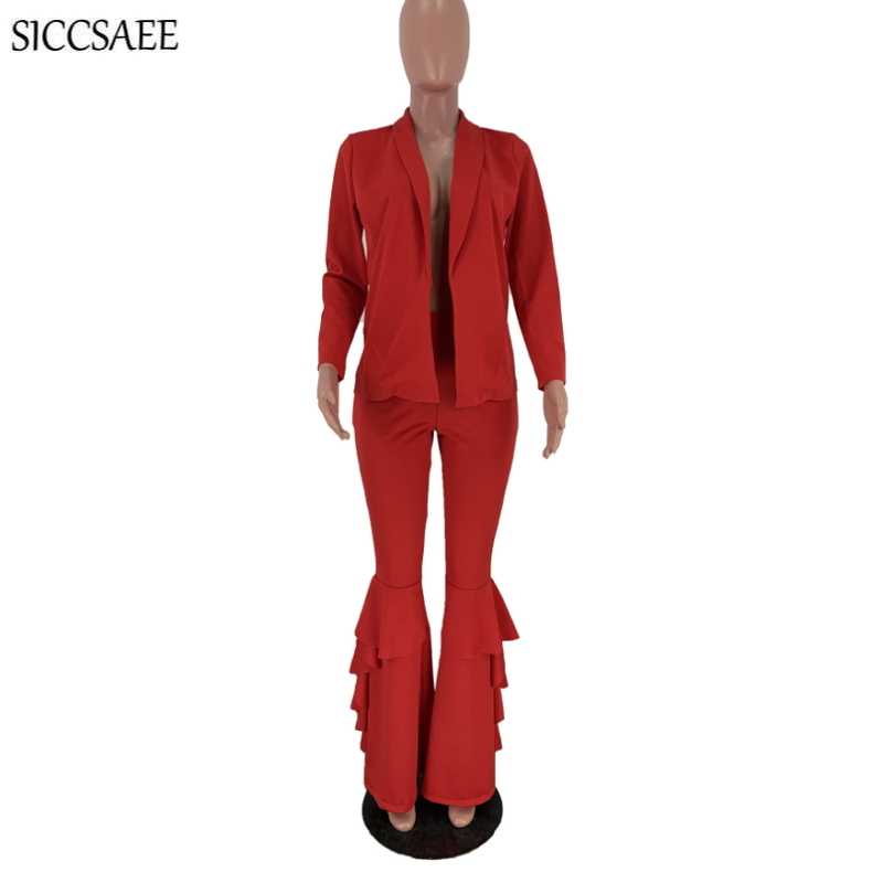 Formal Matching Sets Solid Color Blazer Cardigan Bell Bottom Pants Ruffles Leg Sexy Work Wear Office Lady Two Piece Set Clothing