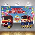 Фон для фотосъемки Fireman Sam для мальчиков, украшение для вечеринки в честь Дня Рождения, детские фоны для фотосъемки, баннер
