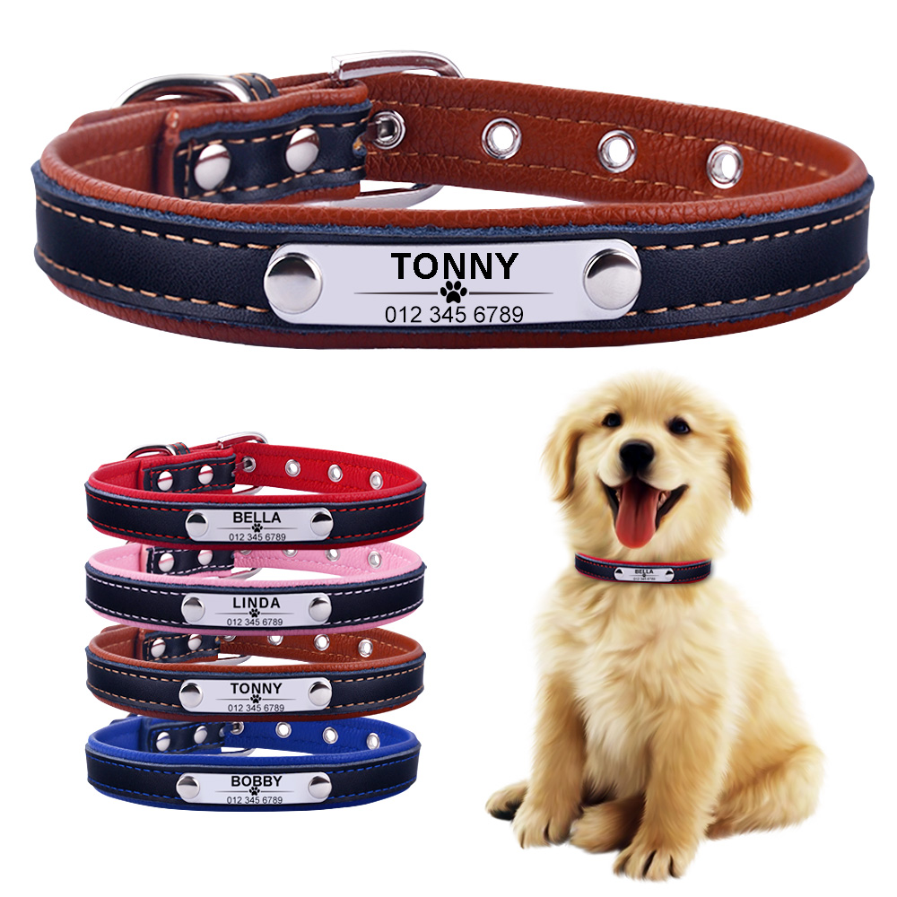AiruiDog Adjustable Personalized Dog Collar Leather Puppy ID Name Custom Engraved XS-L 1