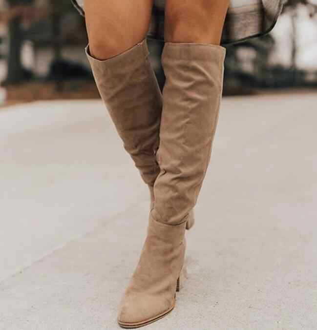 Women Knee-High boots autumn winter new ladies suede Pointed  high heels shoes sexy woman party Comfort long boots woman W056