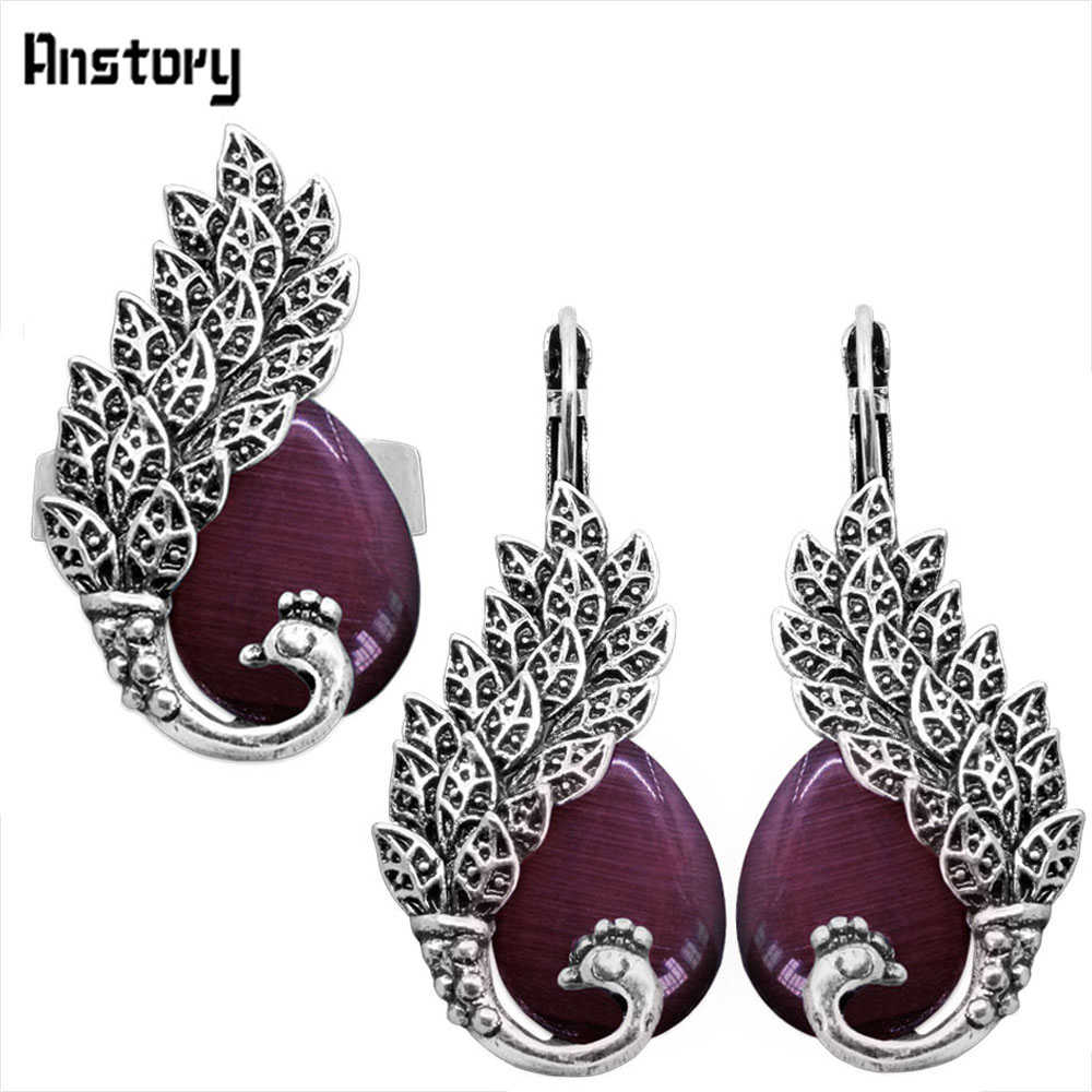 Drop Opal Peacock Jewelry Sets Earrings Ring For Women Antique Silver Plated Fashion Gift TS359