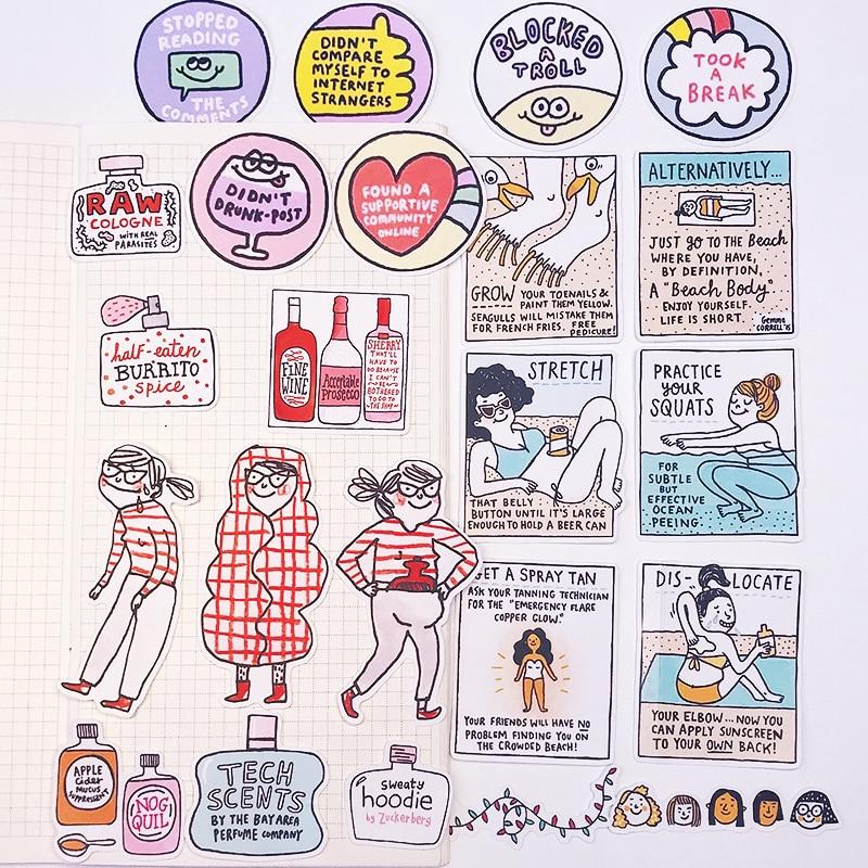 23pcs Funny Girl Stickers DIY Scrapbooking Album Junk Journal Happy Planner Decorative Stickers