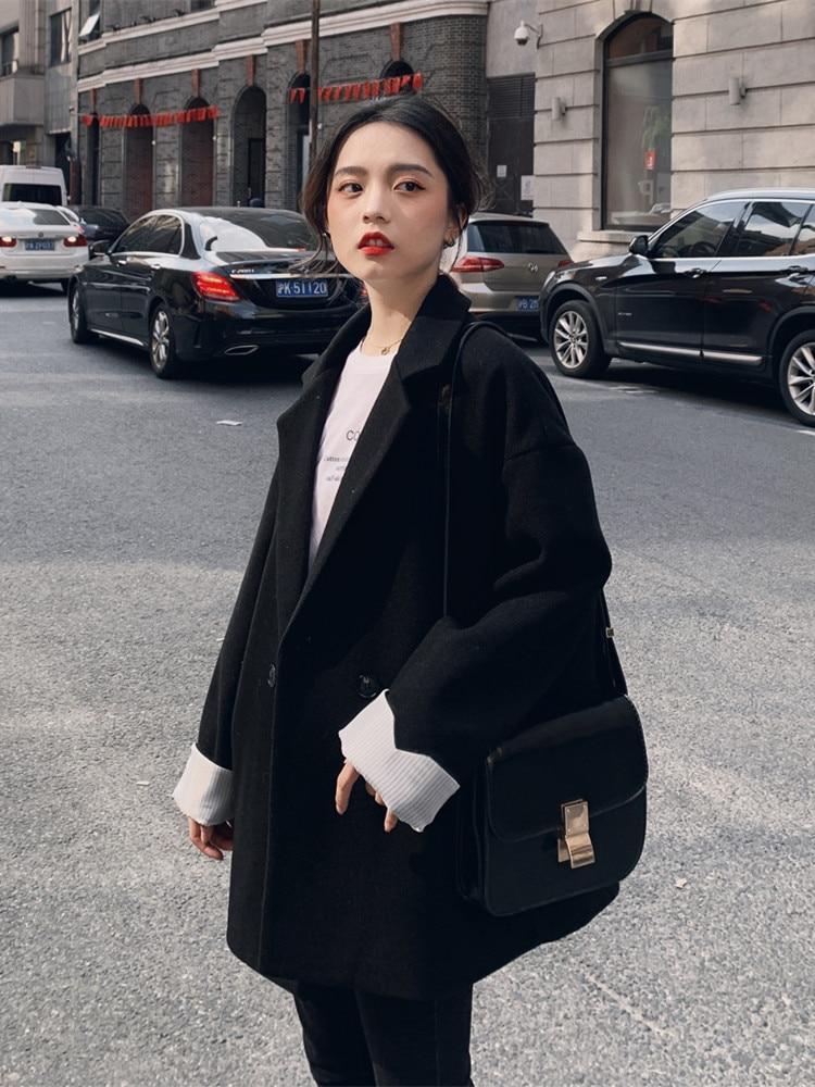 Large Size Korean Ladies Blazer Solid Black Loose Casual Simple Suit Jacket Long Sleeve Retro Spring Women Blazer New MM60NXZ