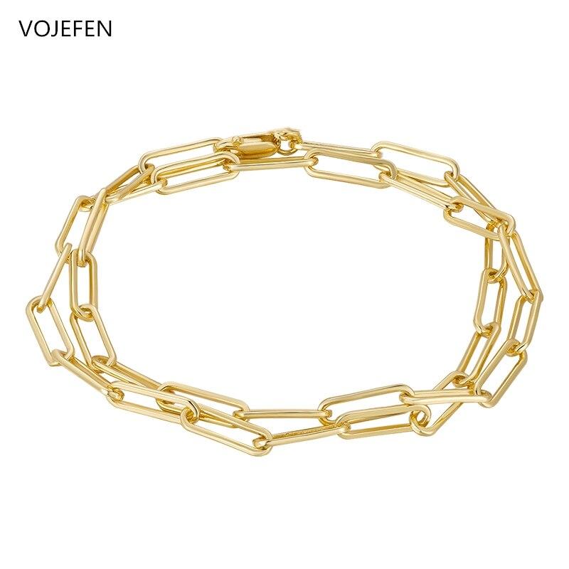 VOJEFEN AU750 18K браслет из чистого золота зажим для бумаги звеньевая цепочка для женщин подростков девушек Золотая овальная прямоугольная цепоч...