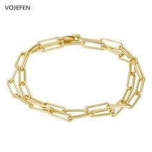 Vojefen au750 18k ouro puro pulseira clipe de papel link corrente para meninas adolescentes, ouro oval retângulo corrente jóias presente de aniversário