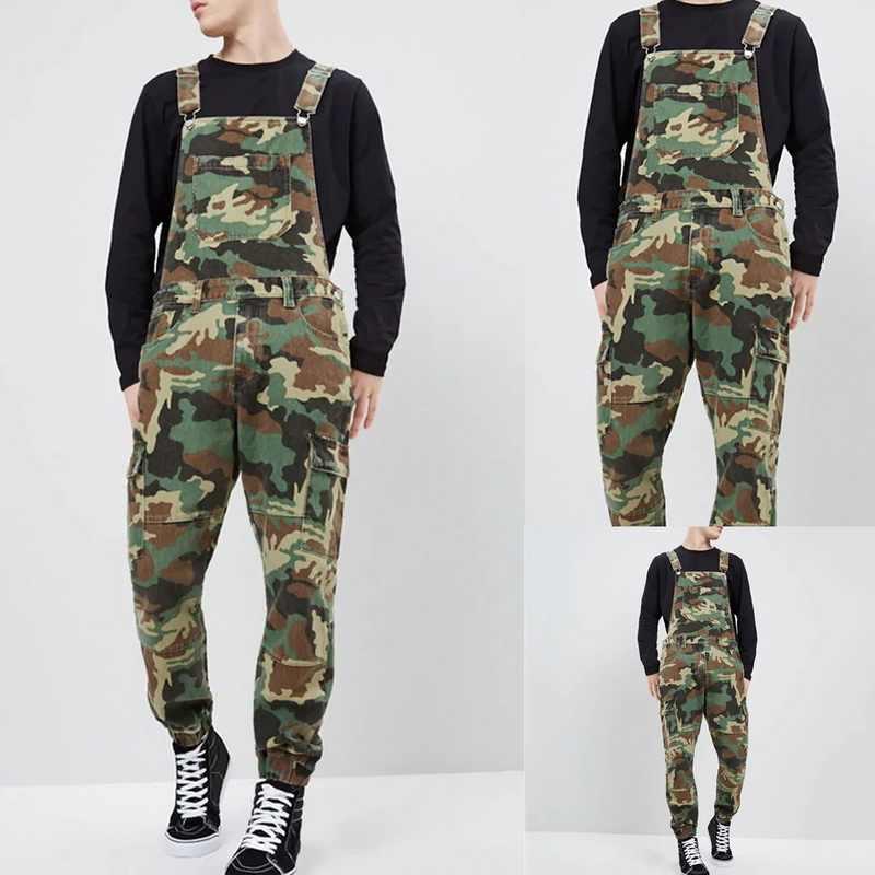 MJARTORIA 2019 新メンズデニム大工オーバーオールカジュアルルース迷彩パンツよだれかけパンツ男性のファッションヒップホップジャンプスーツパンツ
