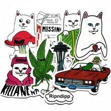 8pcs Pack Cat Ripndipp Funny Stickers Waterproof PVC Skateboard Luggage Suitcase Motorcycle Laptop rip n dip Decal Stickers Toy printio rip n dip cat