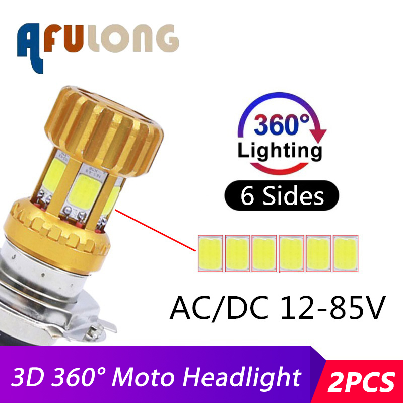 1PCS Motorcycle LED Headlight Bulbs BA20D H4 LED HI/LO Beam 6500K LED MOTO 2500LM Motorbike LED Lamps AC/DC 12-85V Moto Light