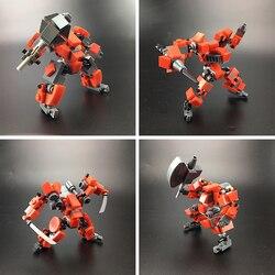 Design original mecha guerreiro blocos de construção brinquedos para crianças robôs armadura anime figura modelo figura ação blocos bonecas