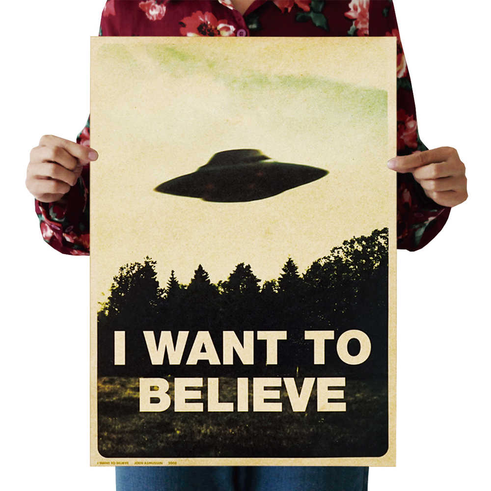 "Retro Wall Sticker""I Want To Believe""Kraft Paper old Art Movie Vintage Home Decor Sticker Living Room Poster Cafe Antique poster"
