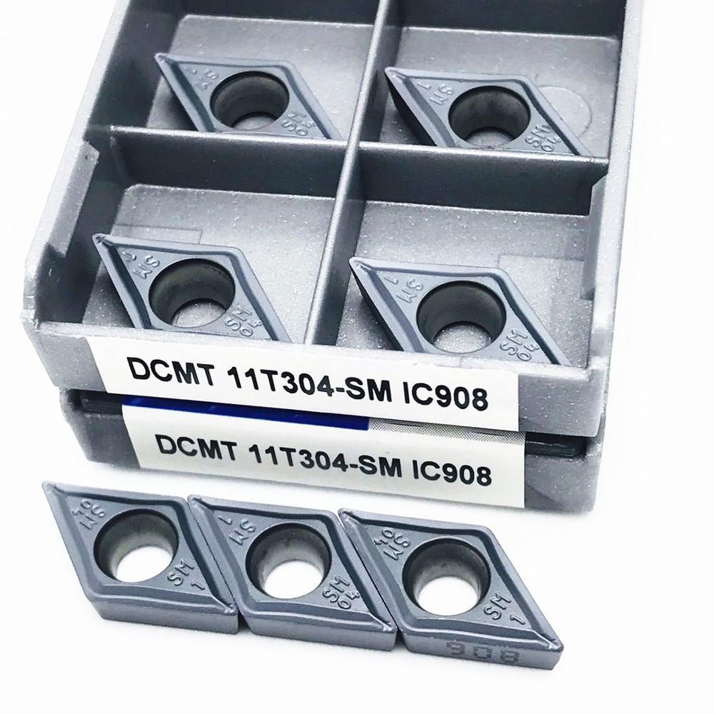 Купить с кэшбэком 10PCS DCMT11T304 SM IC907 DCMT11T304 SM IC908 Internal turning tool DCMT 11T304 carbide insert turning tool tool turning insert