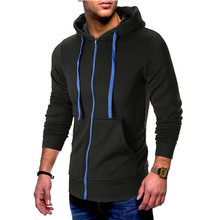 Hoodie new autumn and winter men's solid color long-sleeved pocket design hooded cardigan men's cotton  casual sweatshirt ombre topstitched pocket design hoodie