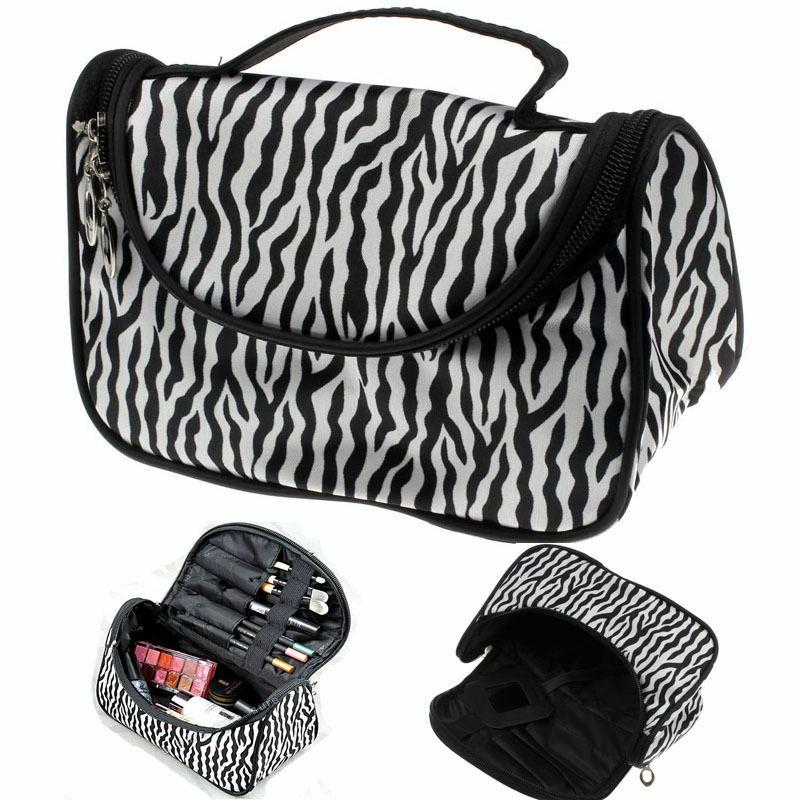 New Women Lady Fashion Makeup Cosmetic Case Toiletry Bag Zebra Travel Handbag Organizer