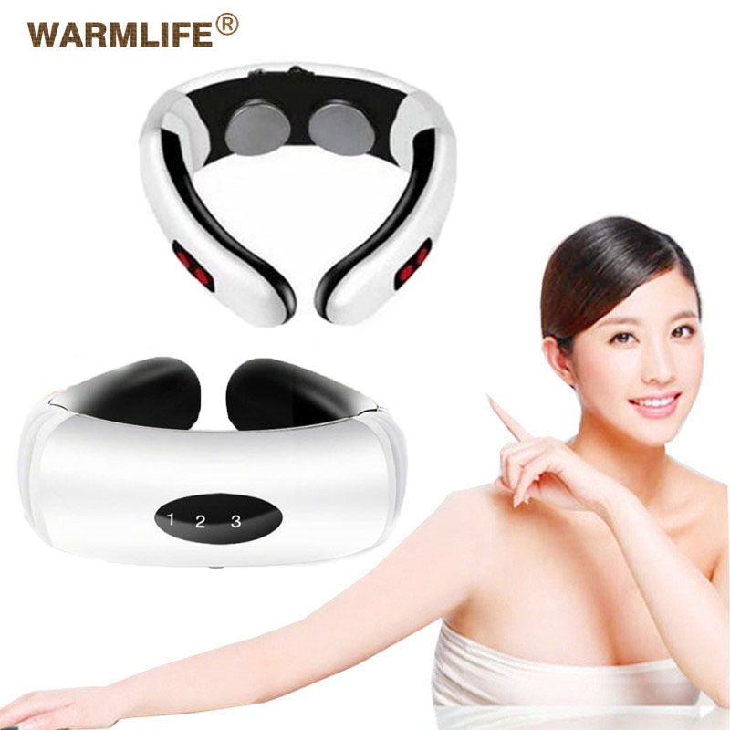 Electric Pulse Back And Neck Massager Far Infrared Heating Pain Relief Tool Health Care Relaxation Intelligent Cervical Massager