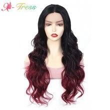 Perruque Lace Front wig synthétique longue ondulée pour femmes, perruques tendance rouge vin brun en Fiber résistante à la chaleur pour fête Cosplay, usage quotidien, X-TRESS