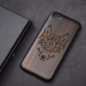 """Image 4 - Чехол для iPhone SE 2, черный деревянный чехол из черного эбенового дерева для iPhone SE 4,7 """", резной ТПУ бампер, деревянный чехол для iPhone se 2020"""