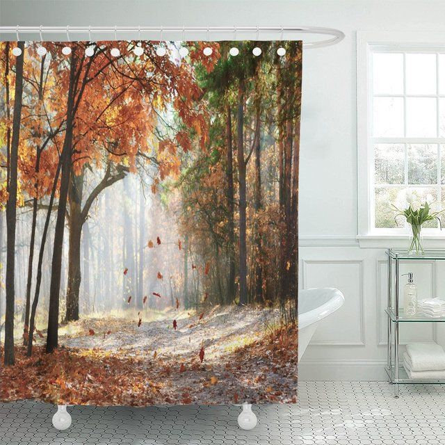Tree Branches and Leaves on Road Scene Landscape Polyester Fabric Shower Curtain