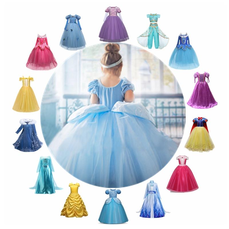 Cinderella Girls Dress Rapunzel Cosplay Costume Princess Dress Up Belle Anna Elsa Dress Sleeping Beauty Kids Vestidos Infantil 1