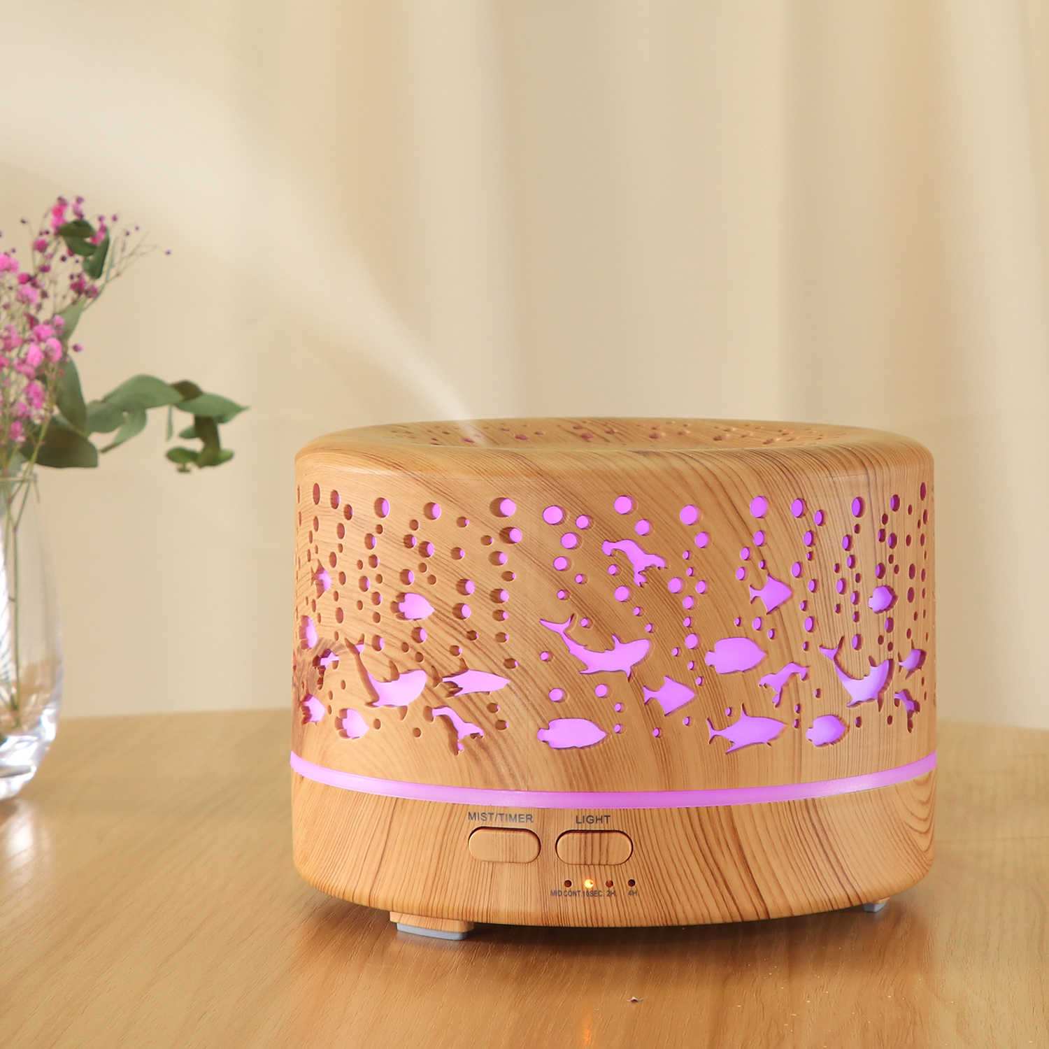 700ml Big capacity Aroma Diffuser Aromatherapy Wood Grain Essential Oil Diffuser Ultrasonic Cool Mist Humidifier for Office Home