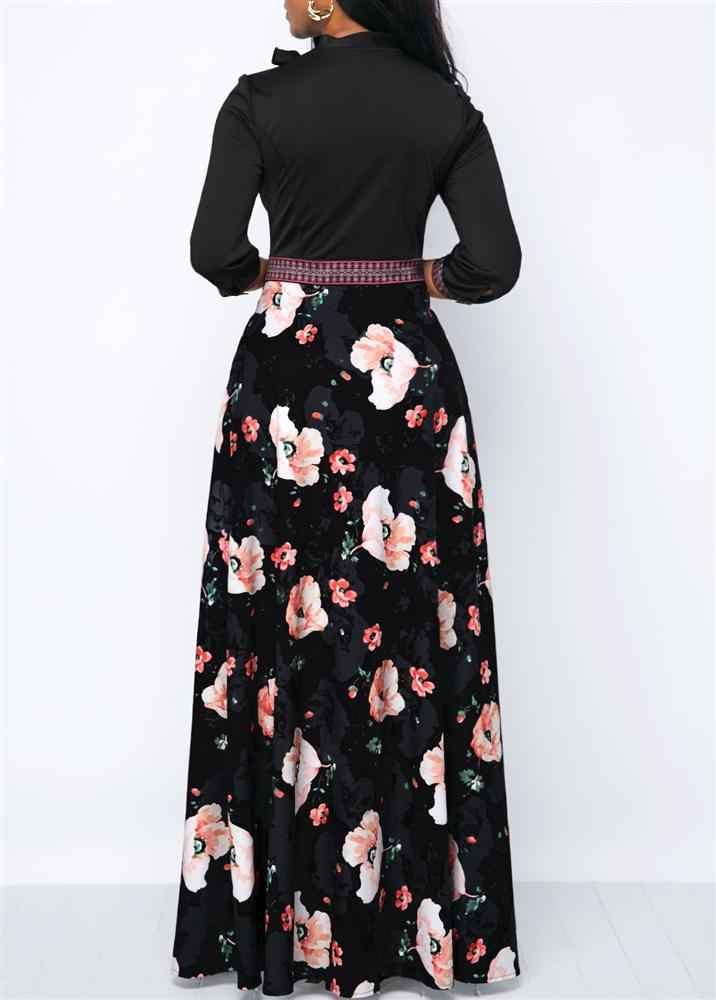 Женские Длинные Макси платья богемные полые шеи три четверти рукав цветочный принт этнические летние пляжные женские стильные платья