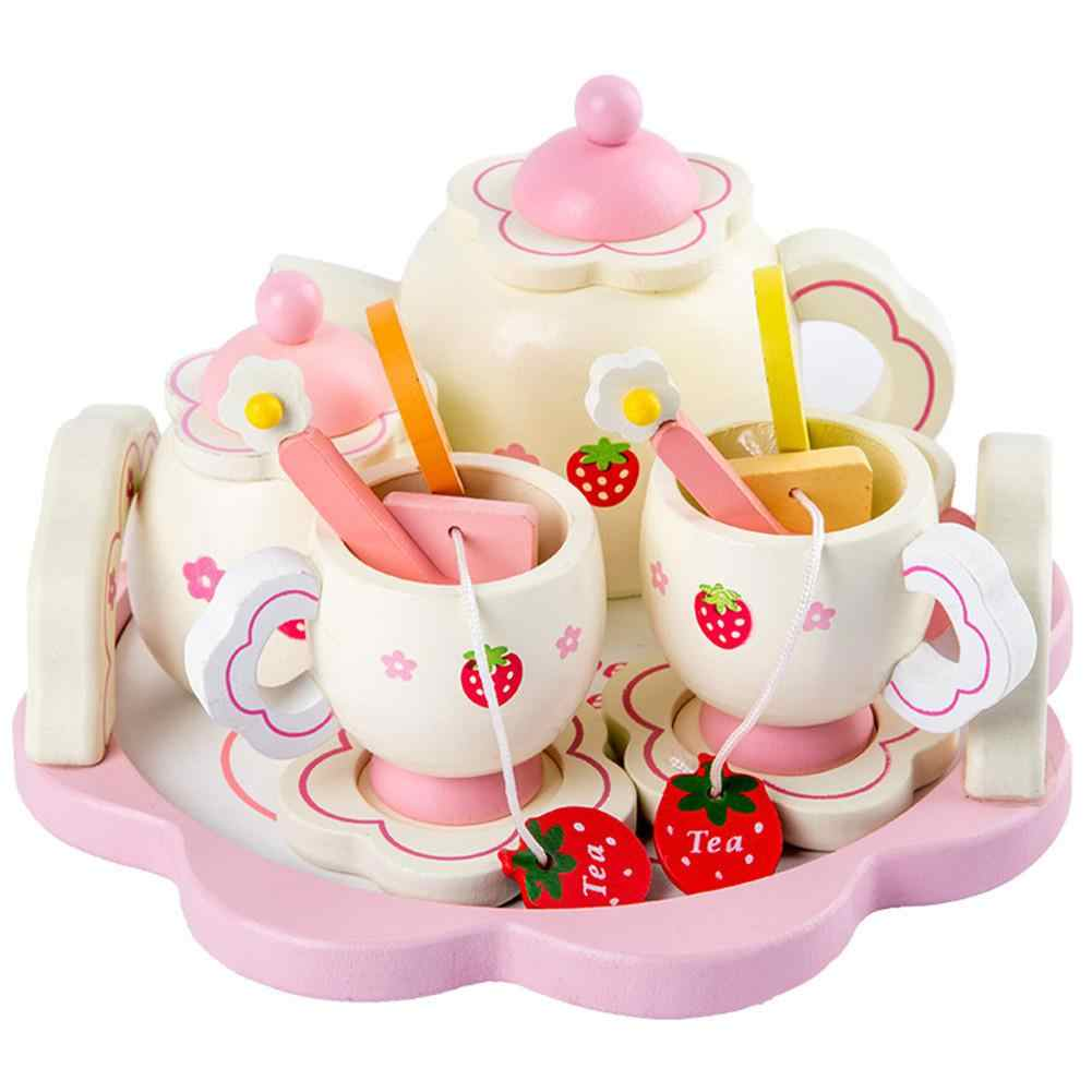 None Kids Girls Simulate Wooden Pink Tea Set Play House Educational Toy
